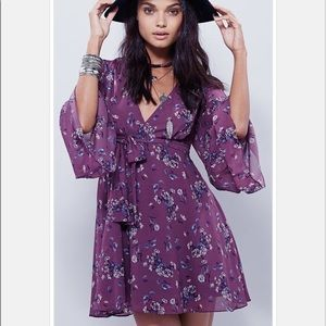 Free People Lilou Printed Mini Dress Plumberry M